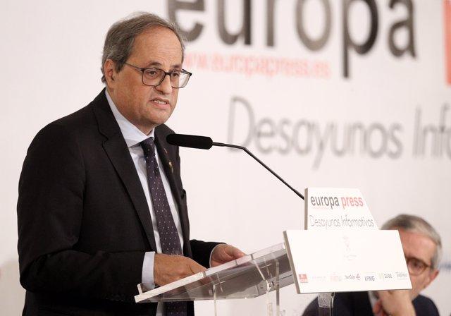 El presidente de la Generalitat, Quim Torra, interviene en el Desayuno Informativo de Europa Press en Madrid