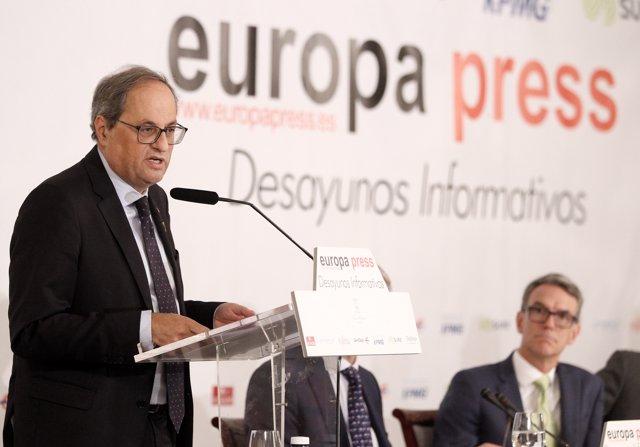 El presidente de la Generalitat, Quim Torra, protagoniza el desayuno informativo de Europa Press