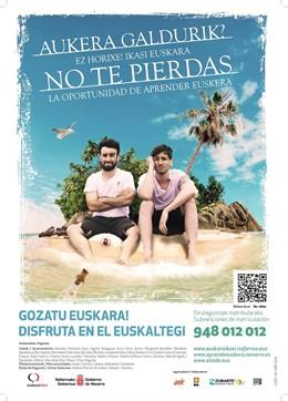 Cartel de la campaña 'No te pierdas la oportunidad de aprender euskera'
