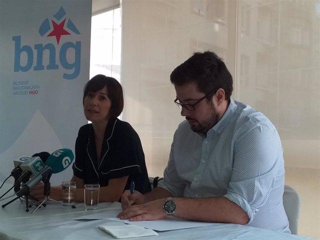 La portavoz nacional del BNG, Ana Pontón, y el portavoz municipal del BNG en Vigo, Xabier Pérez Igrexas.