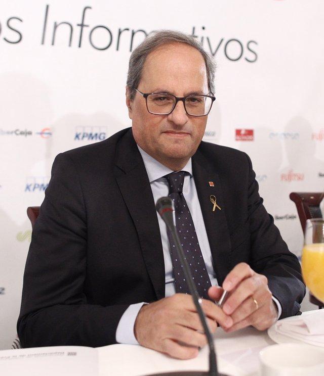 El president de la Generalitat, Quim Torra, en  un Esmorzar informatiu d'Europa Press celebrat a l'Hotel Villamagna de Madrid.