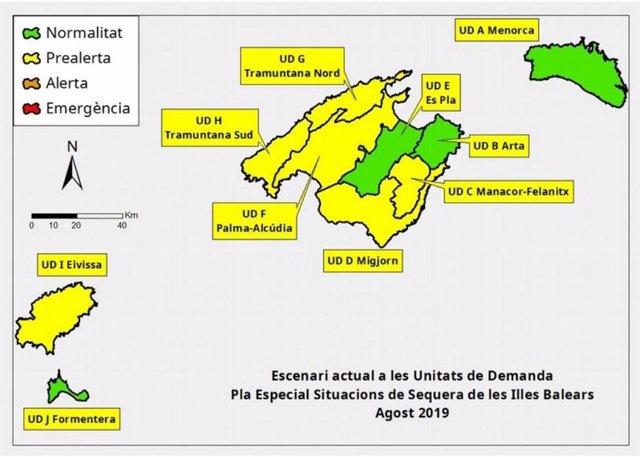 Escenari de les Unitats de Demanda de les reserves hídriques de Balears.