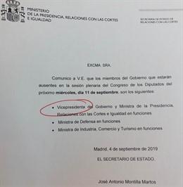 Comunicado del Gobierno anunciando la ausencia de Carmen Calvo en la próxima sesión de control