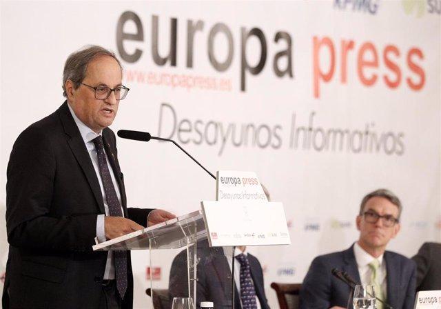 El presidente de la Generalitat, Quim Torra, durante su intervención en un  Desayuno informativo de Europa Press.