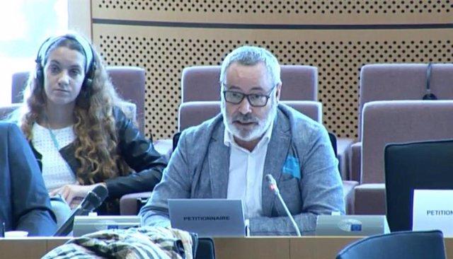 El presidente de Consubal, Alfonso Rodríguez, interviene en el Parlamento Europeo.