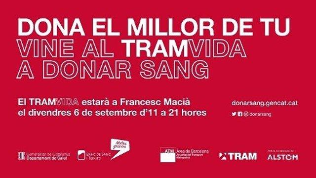 Tram crida a donar sang en un tramvia en Francesc Macià aquest divendres
