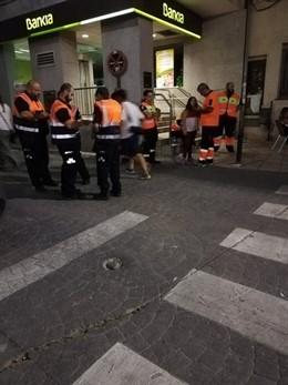 Miembros de Protección Civil de Morata de Tajuña, en el dispostivo de los encierros