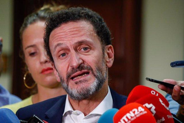 Los portavoces adjuntos de Ciudadanos, Edmundo Bal y Melisa Rodríguez, ofrecen declaraciones a los medios de comunicación en el Congreso de los Diputados tras registrar dos proposiciones de ley