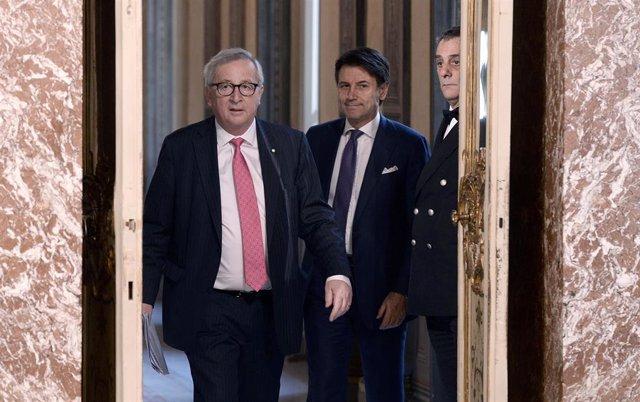 Jean-Claud Juncker y Giuseppe Conte