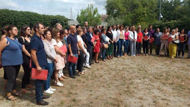 Representantes de una cuarentena de ayuntamientos catalanes reunidos en Terrassa (Barcelona)