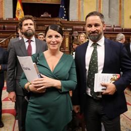 Iván Espinosa de los Monteros, Macarena Olona y Santiago Abascal, diputados de Vox en el hemiciclo