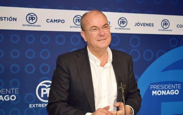 José Antonio Monago, presidente del PP de Extremadura, en una foto de archivo