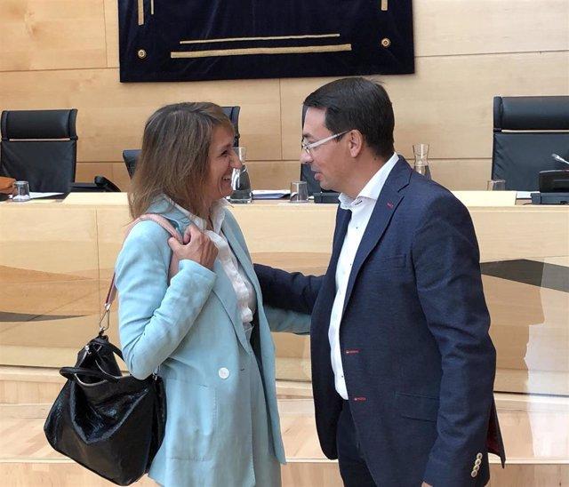El portavoz de Educación del PSOE en las Cortes, Fernando Pablos, saluda a la consejera de Educación, Rocío Lucas.