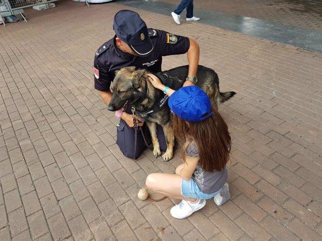 Un policía enseña un perro de la Unidad Canina a una de las niñas asistentes al stand de la Vuelta en Bilbao