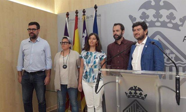 Los responsables municipales Antoni Noguera, Sonia Vivas, Neus Truyol, Francisco Ducrós y Alberto Jarabo.