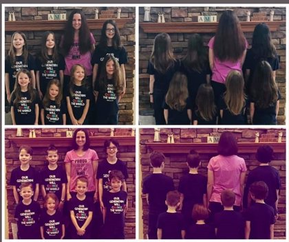 Una madre y sus siete hijos se dejan crecer el pelo para donarlo a los niños afectados por la quimioterapia