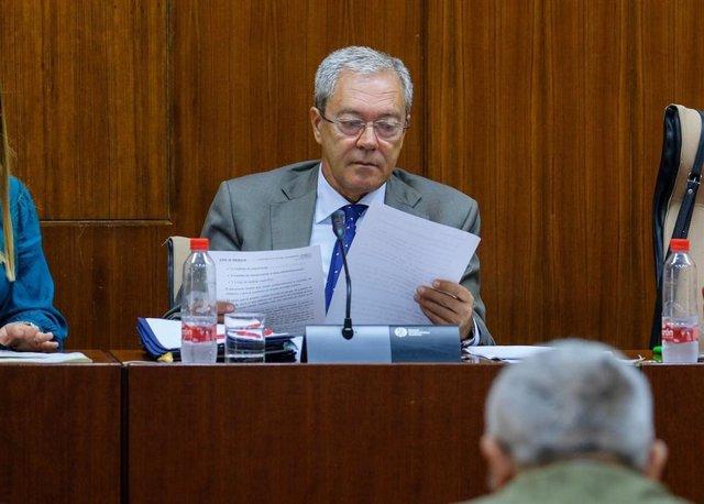 El consejero de Economía, Conocimiento, Empresas y Universidad, Rogelio Velasco, en comisión parlamentaria, en una imagen de archivo.