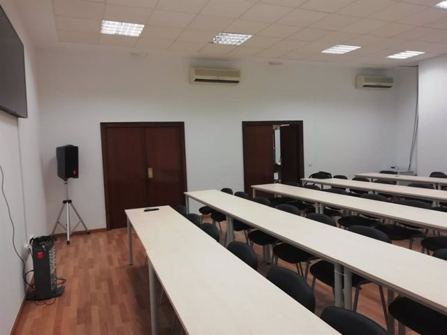 Sala de prensa habilitada para seguir el juicio contra Ana Julia Quezada en la Audiencia de Almería