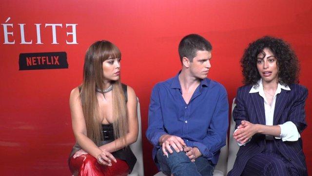 Danna Paola, Miguel Bernardeau y Mina El Hammani, protagonistas de Élite