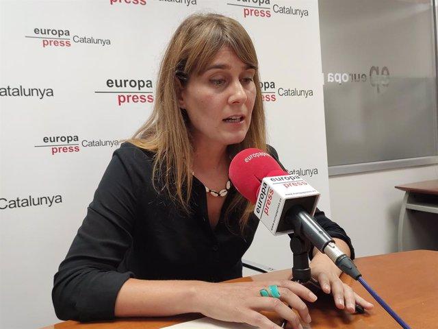 La presidenta de CatECP en el Parlament, Jéssica Albiach, en una entrevista de Europa Press