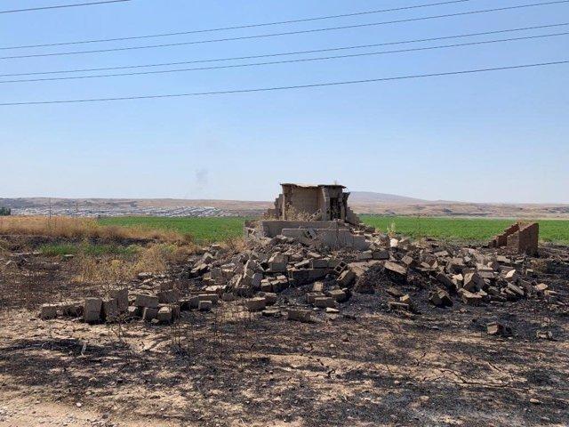 Una casa destruida por la guerra en Hamdaniya