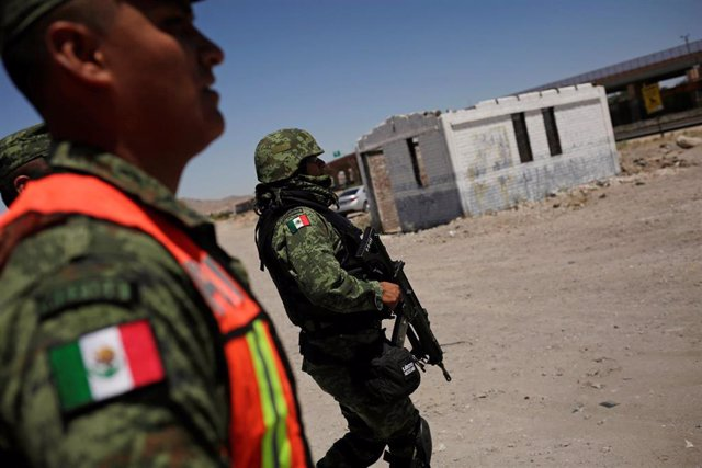 Agentes de la Guardia Nacional de México desplegados en Ciudad Juárez, en la frontera con Estados Unidos