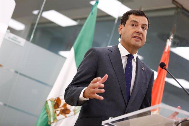 El presidente del Gobierno de Andalucía, Juanma Moreno