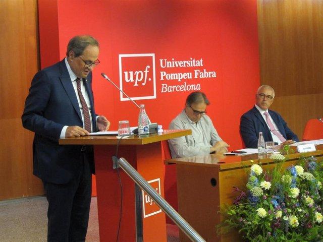 El presidente Quim Torra, en la inauguración del curso universitario