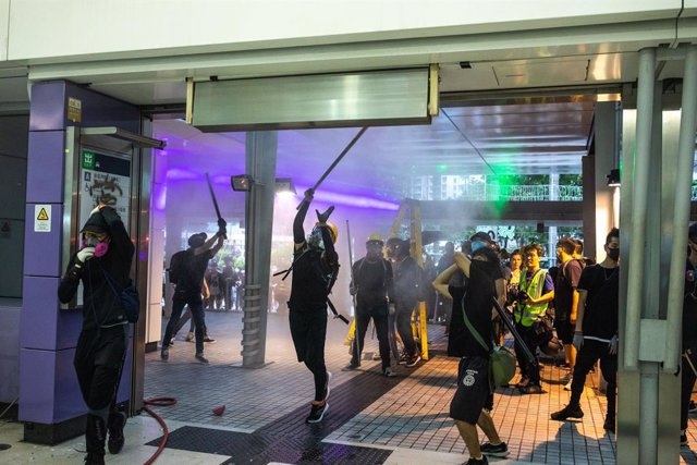September 01, 2019 - Hong Kong SAR, P.R. China: Protestors attempted to shut down Hong Kong's international airport but failed to bring it to halt. As they retreated they vandalized an MTR station and blocked roads causing severe traffic to and from the a