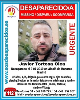 Cartel del hombre desaparecido en Alcalá de Henares