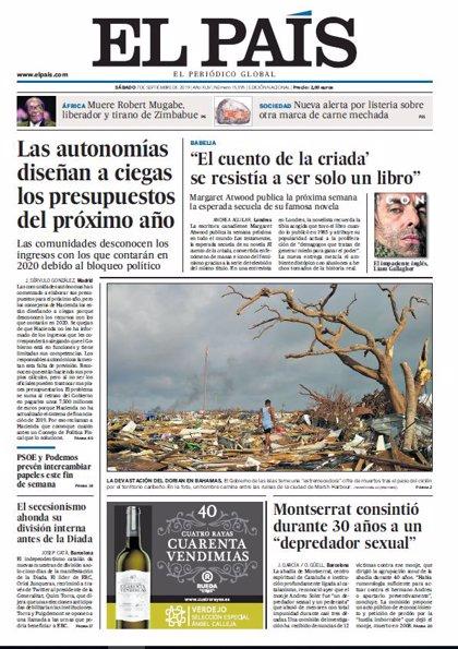 Las portadas de los periódicos del sábado 7 de septiembre de 2019