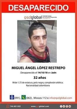 Cartel con la desaparición de Miguel Ángel López