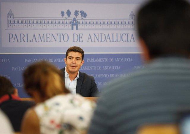 El portavoz del Grupo Parlamentario Ciudadanos (Cs), Sergio Romero, en una rueda de prensa. Foto de archivo