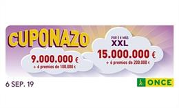 Cupó premiat en el 'cuponazo' de l'ONCE en el sorte del divendres 6 de setembre.