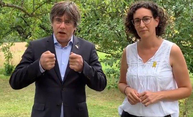 L'expresident de la Generalitat Carles Puigdemont i la secretària general d'ERC, Marta Rovira, en un vídeo difós per l'ANC.