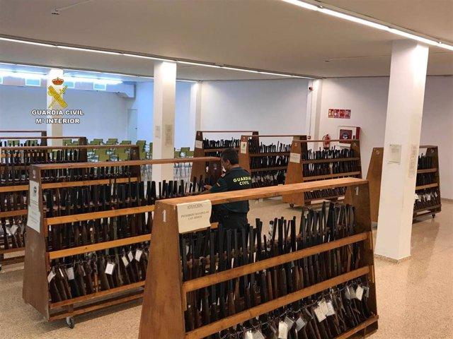 Armas custodiadas por la Guardia Civil de Baleares para una subasta prevista para el próximo 16 de septiembre.