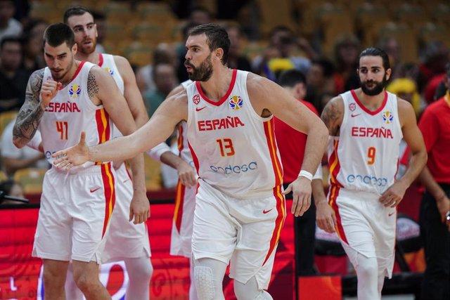 Marc Gasol, Ricky Rubio, Juancho Hernangómez y Víctor Claver con la selección española de baloncesto durante el Mundial de China
