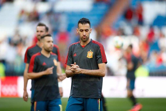 Sergio Busquets, en un entrenamiento de la selección española.