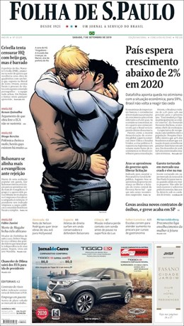 Portada de 'Folha de Sao Paulo' sobre la Bienal del Libro con dos hombres besándose sacada de la portada de un cómic de Marvel: 'Vengadores: la cruzada de los niños'.