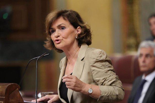 La vicepresidenta del Gobierno en funciones, Carmen Calvo, durante el Pleno extraordinario en el Congreso para tratar la gestión del 'Open Arms'