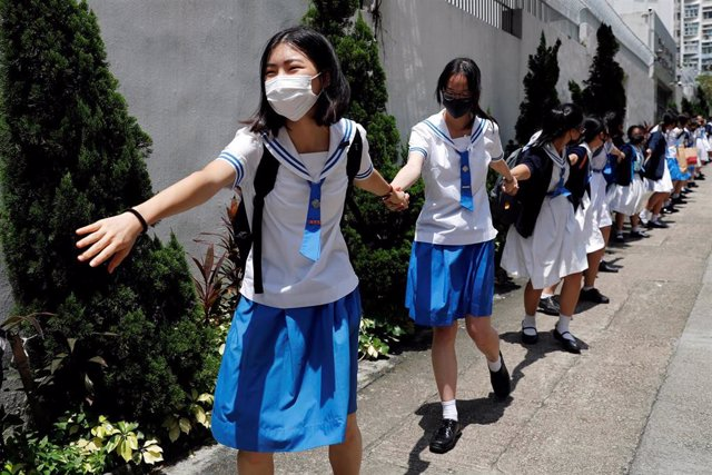 Cadena humana en Hong Kong