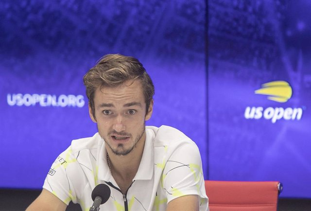 08 September 2019, US, New York: Russian tennis player Daniil Medvedev attends a press conference after being defeated by Spanish Rafael Nadal in their men's singles final match of the 2019 US Open Grand Slam tournament at the Arthur Ashe Stadium. Photo: