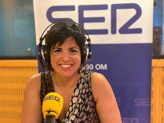 La coordinadora general de Podemos Andalucía y presidenta del grupo parlamentario de Adelante Andalucía, Teresa Rodríguez, durante al entrevista
