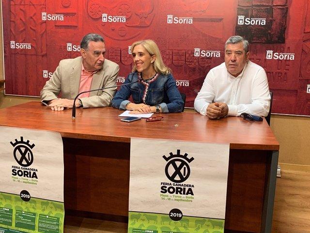 El director de Soriactiva Anselmo García, la concejal Teresa Valdenebro y el presidente de ADS Gustavo Gonzalo.