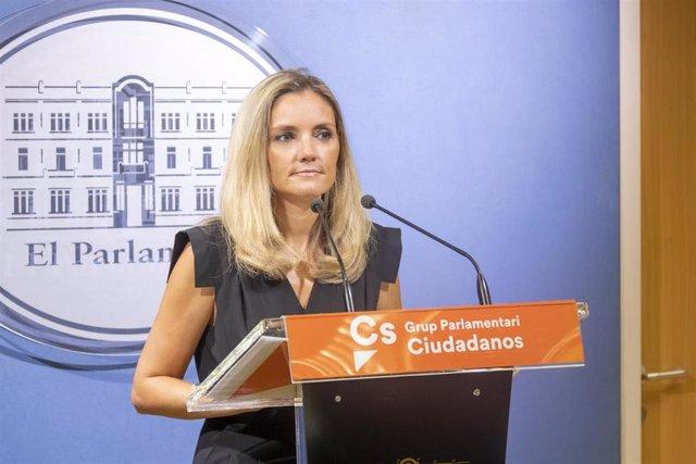 La diputada y portavoz adjunta de Ciudadanos, Patricia Guasp, en una rueda de prensa.
