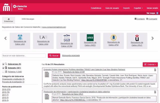 Web de la aplicación madrileña e-cienciaDatos