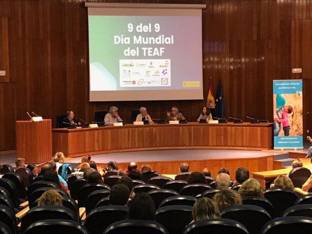 Acto organizado por diversas asociaciones de afectados en el Ministerio de Sanidad con motivo de la celebración del Día Mundial del Trastorno del Espectro Alcohólico Fetal