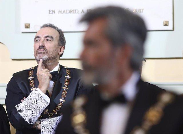 El juez Manuel Marchena durante la apertura del año judicial 2019/2020 en el Palacio de Justicia de Madrid.