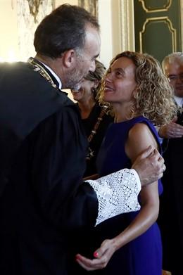 El presidente de la Sala de lo Penal del Tribunal Supremo Manuel Marchena (i), y la presidenta del Congreso de los Diputados, Meritxell Batet, durante el acto de apertura del año judicial, esta mañana en el Tribunal Supremo.