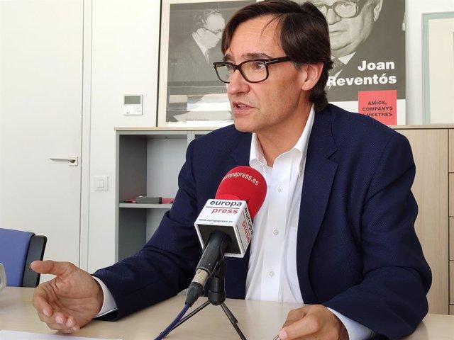 El secretario de Organización del PSC, Salvador Illa, en una entrevista de Europa Press